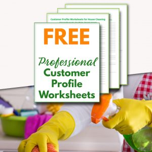 4 digital printables with green and orange writing over a lady with yellow gloves cleaning with a spray bottle.