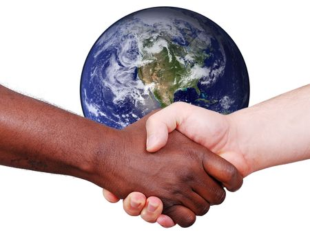 global black and white hand shaking. Customer relations