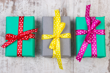 Best gift ideas. 3 colorful gift boxes.