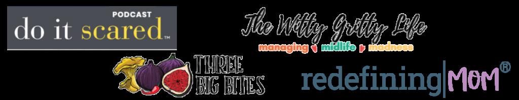 do it scared logo 3 big bites logo witty gritty logo redefining mom logo