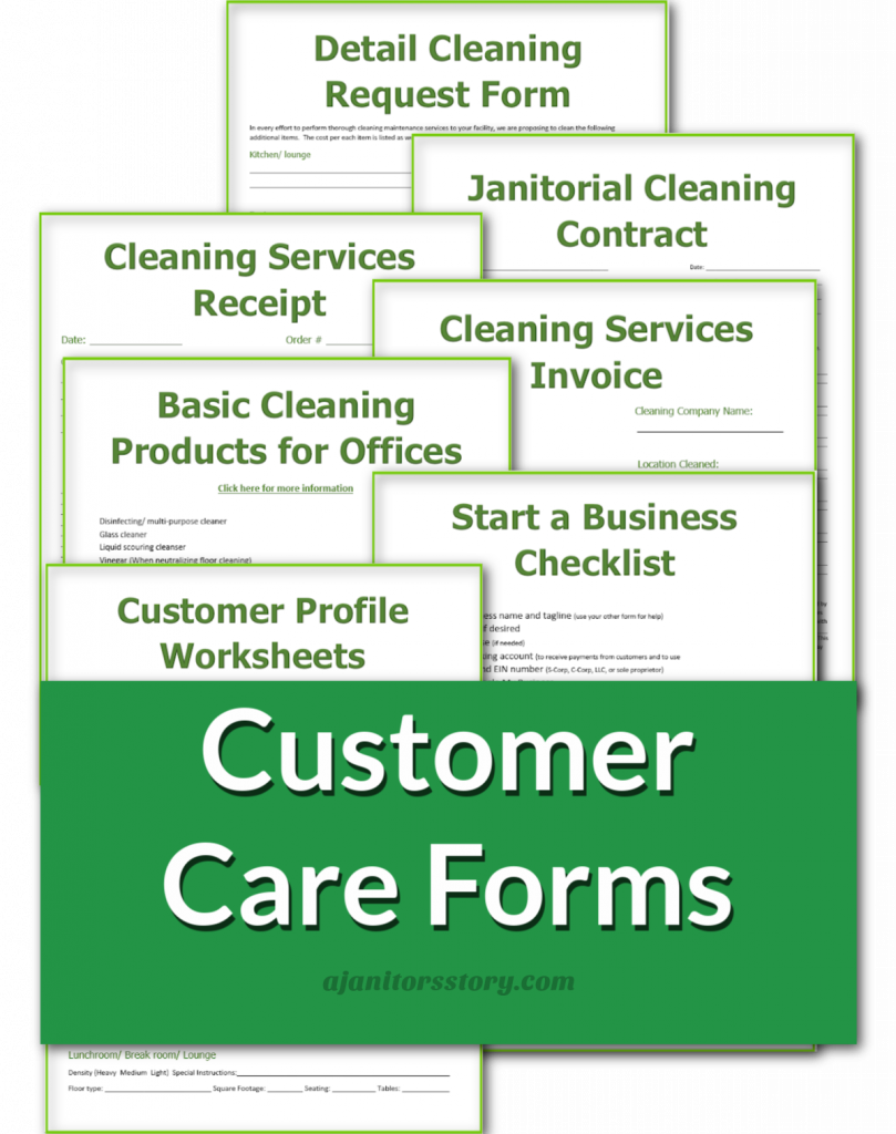 """office cleaning business """"customer """" care forms"""