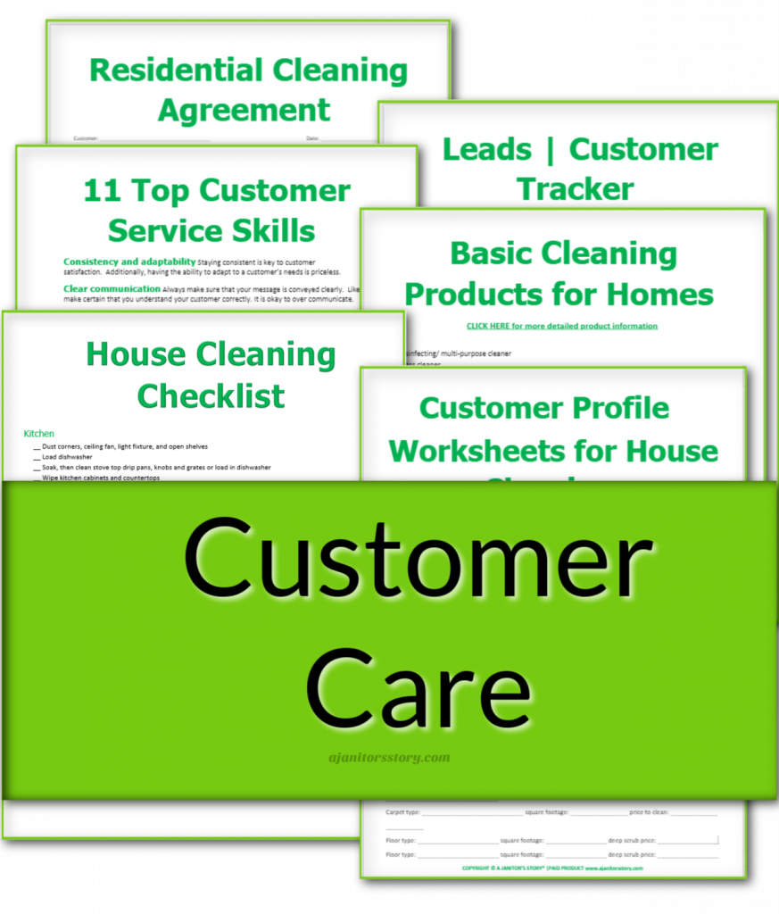 house cleaning business Customer Care forms