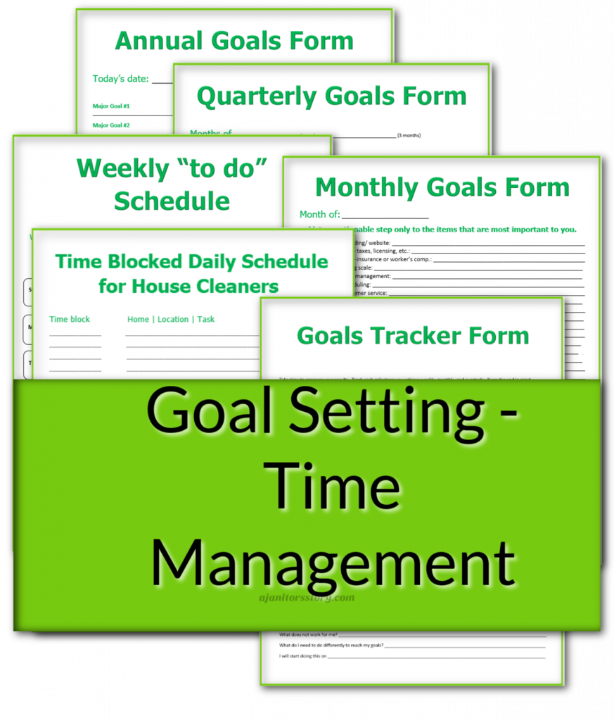 house cleaning business Goal setting forms