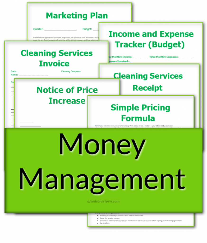 money management forms for housecleaning
