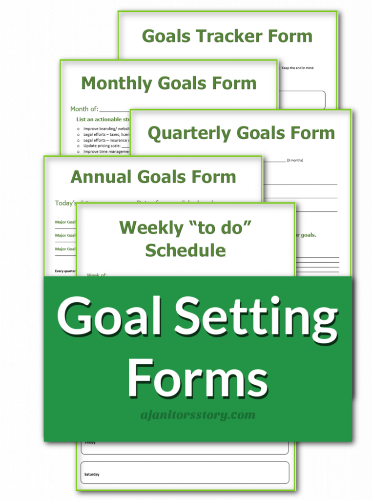 """office cleaning business """"goal setting"""" forms"""