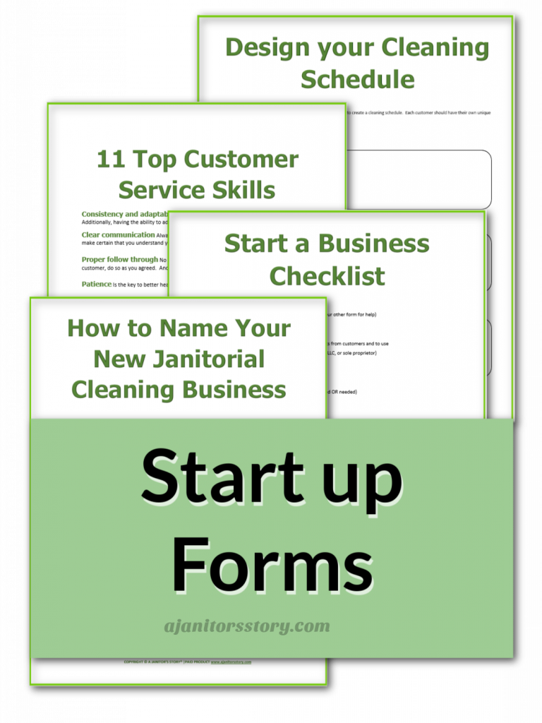green labled start a business forms for office cleaning
