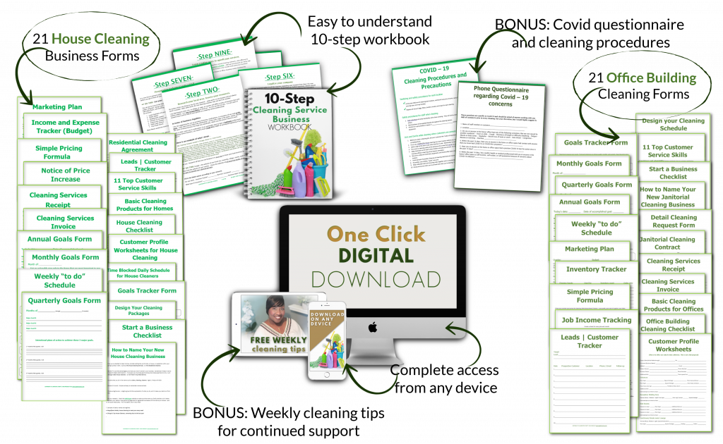 arrows around downloadable printables for cleaning business