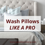 Best Practices for Washing Pillows. Beautiful off white covered buttoned bed post with blue hued pillows