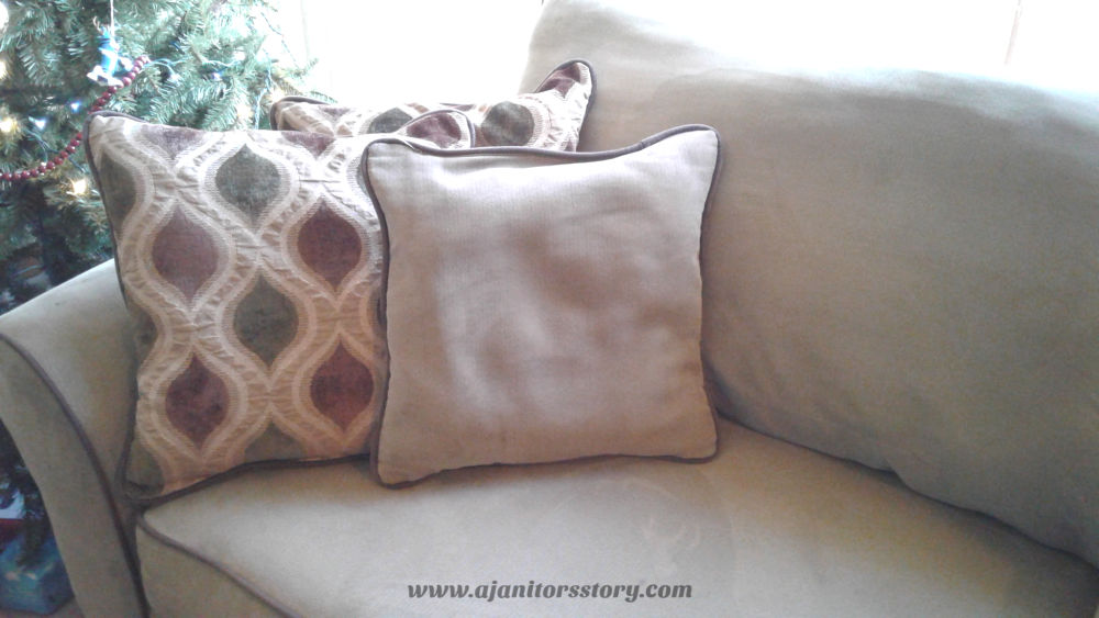 Best Practices for washing pillows. 3 beige and brown couch pillows.