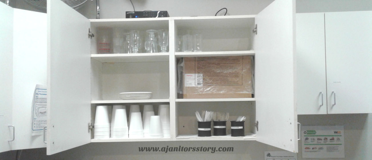 How to clean and organize break room cabinets