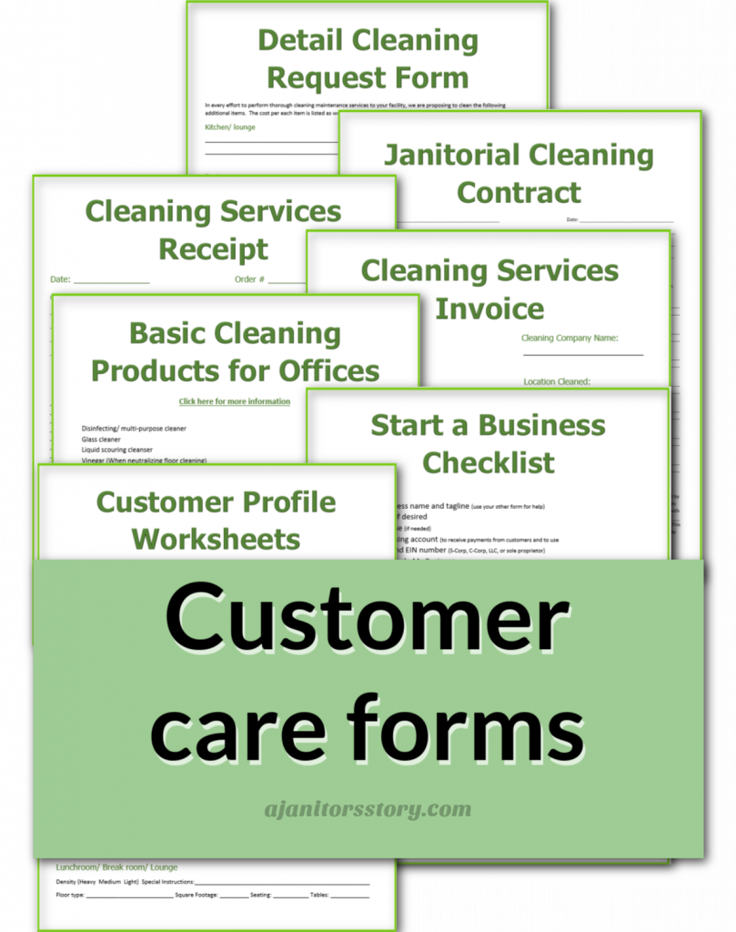 customer care forms for office cleaning with a green banner