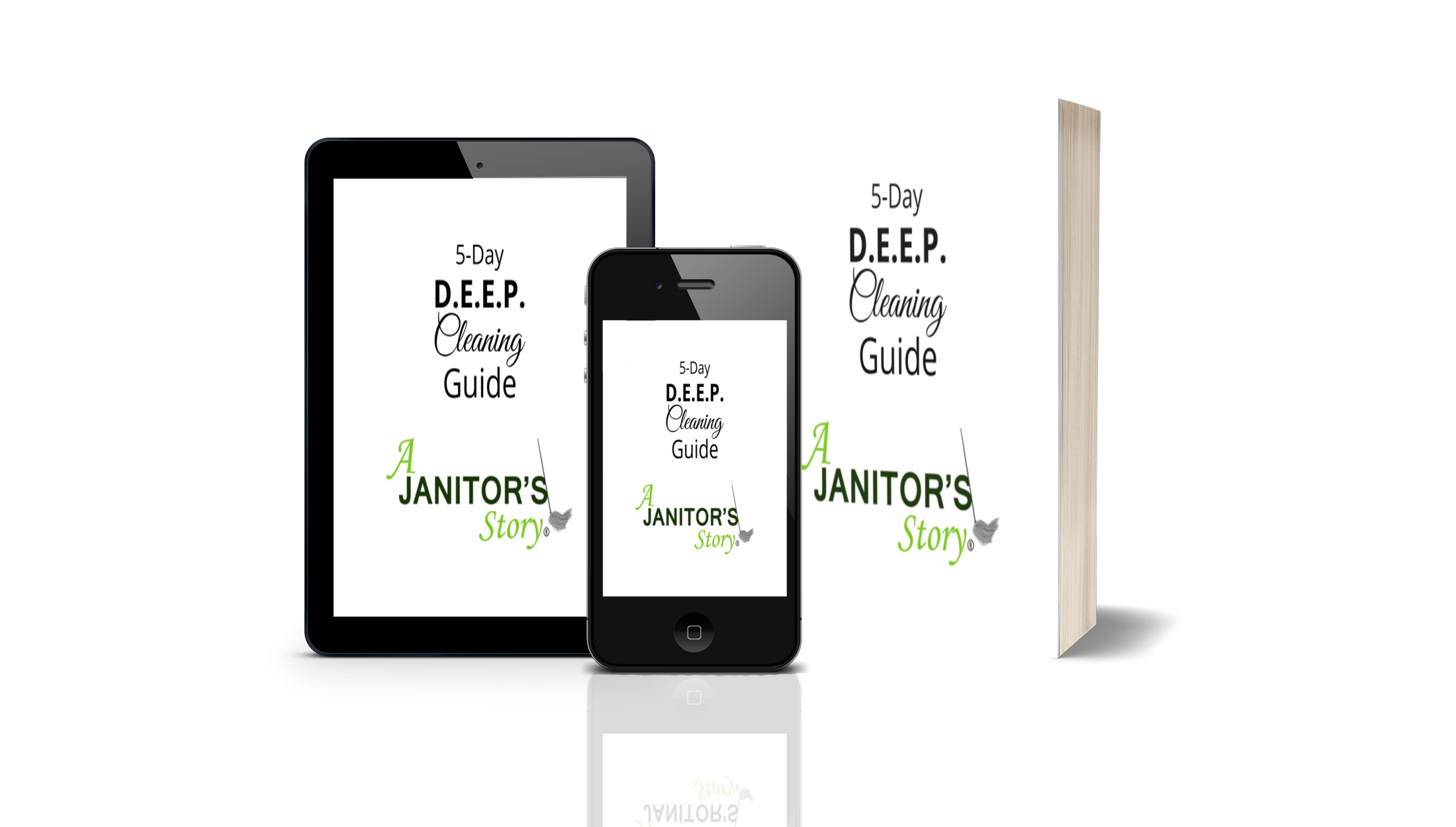 Deep cleaning guidebook on mobile, book, and tablet
