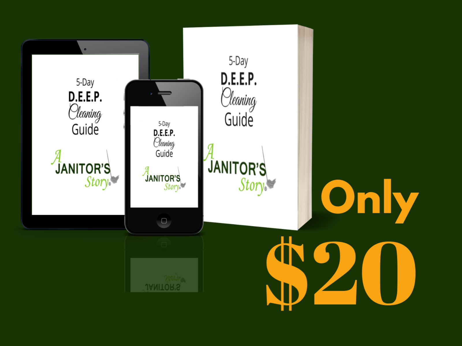 cell phone, tablet, and guidebook for professional deep cleaning