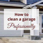 How to clean a garage. Blue and white house with attached white door garage.