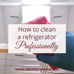 How to clean a refrigerator. blue gloved hand wiping inside a lit refrigerator.