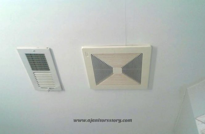 How to clean ac vents. White ceiling HVAC metal cover next to exhaust fan cover.