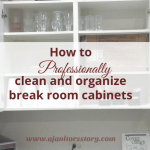 how to clean and organize break room cabinets. opened white cabinets with glass and plastic cutlery
