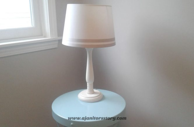 how to clean lamp shades. Off white striped lamp shade on a blue table