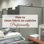 How to clean fabric cubicle partitions. picture of taupe coor office dividers with copier machine in front.