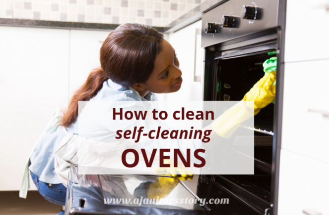 how to clean self-cleaning ovens. african american woman wiping an oven.