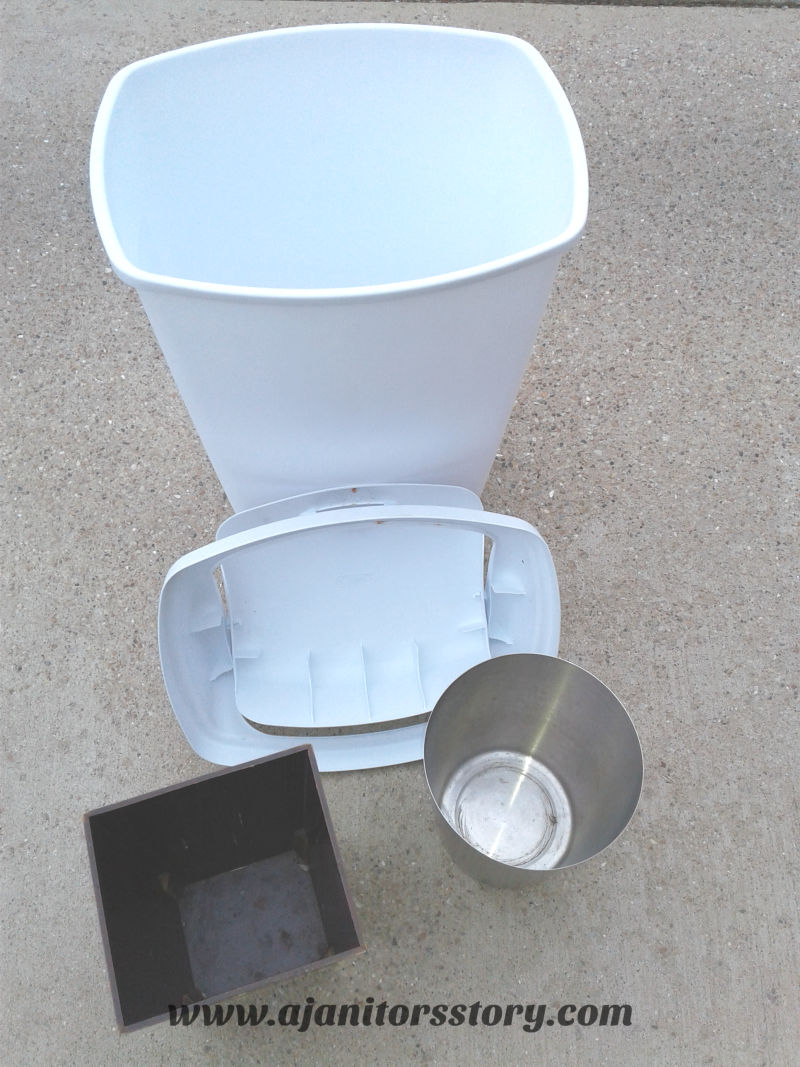 how to clean trash cans and recycling bins. White trash can and silver and brown can.