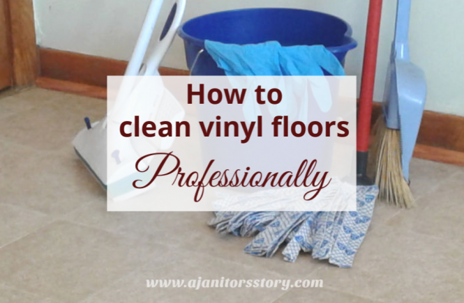 how to clean vinyl floors. picture of cleaning products, blue bucket, re mop stick
