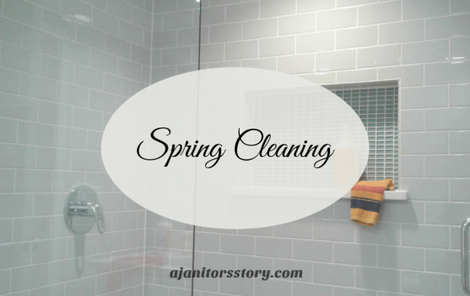 Easy spring cleaning bathroom tips. Cleaning products in gray subway tile shower.