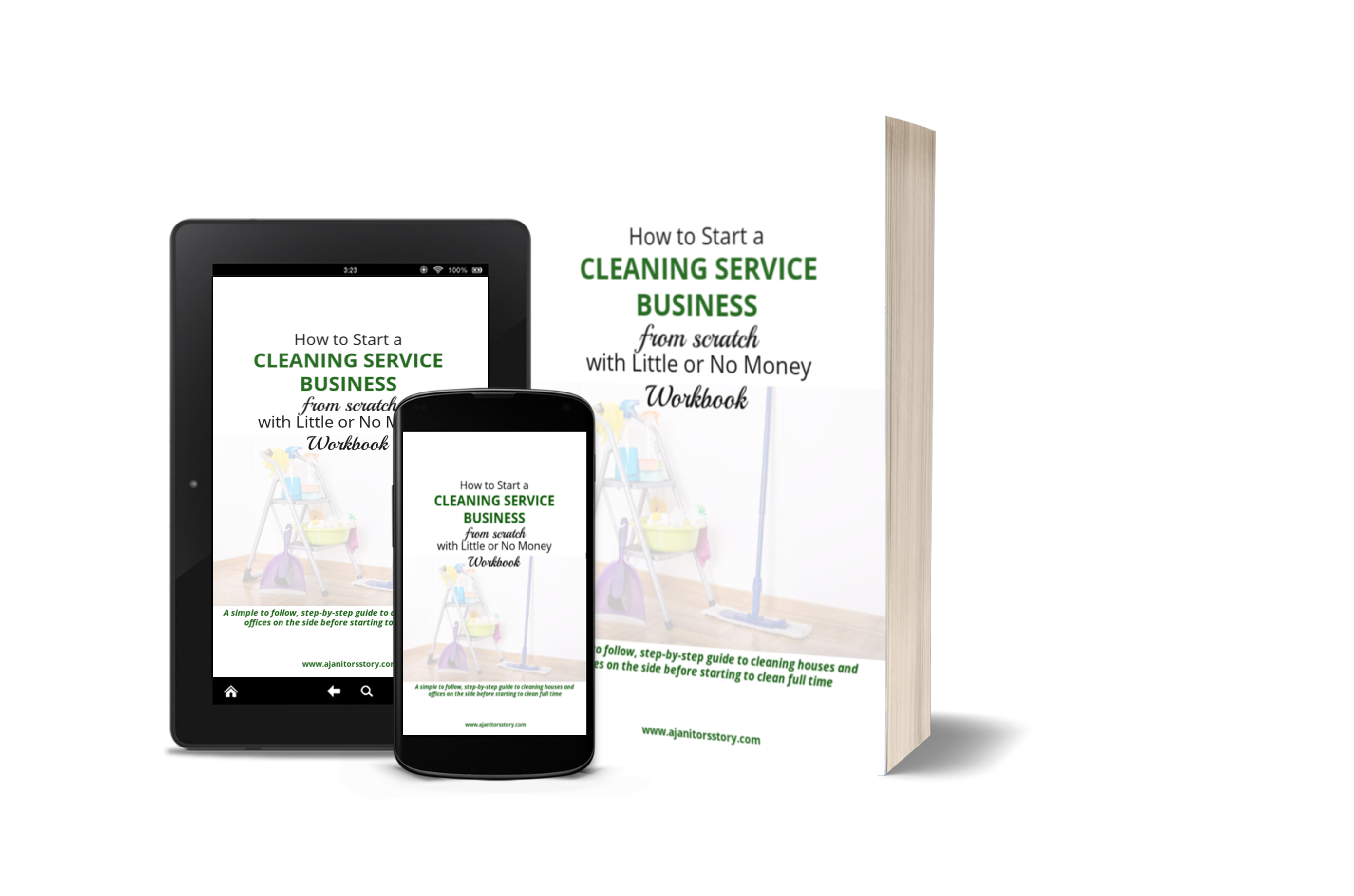 how to start a cleaning service business white ebook, tablet and smart phone picture with faded cleaning supplies on cover.