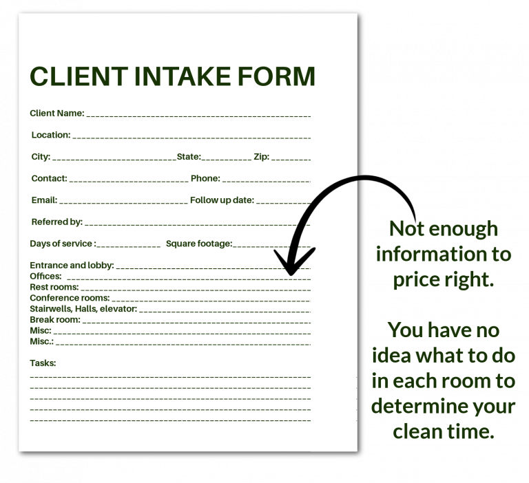 boring client intake form