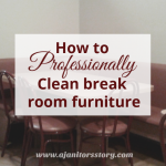 professional tips to clean break room furnitue. burgandy chairs and pink table in cafe.