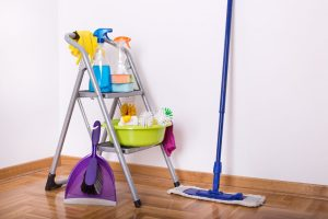 cleaning bottles, dust pan and hand broom on a step stool on a wood floor