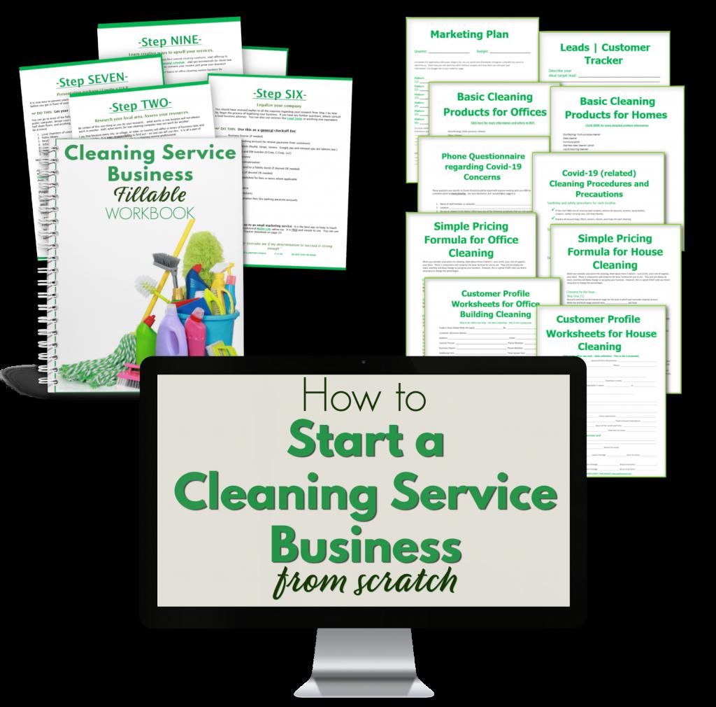 laptop workbook printables to start a cleaning biz.