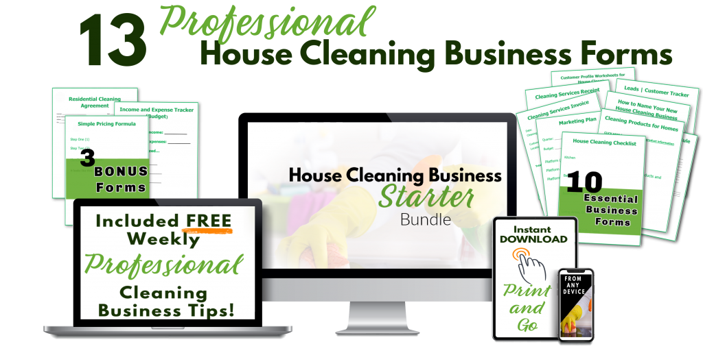 computer, laptop, tablet, and phone showing cleaning service digital product