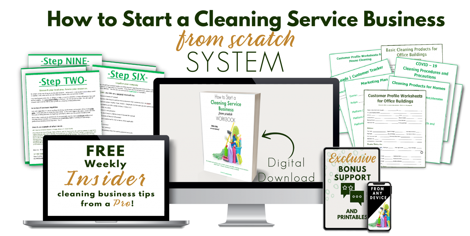 tablet, phone, book cover for starting a cleaning service business