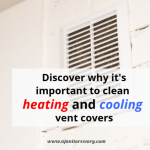How to clean ac vents. White HVAC vent on white brick wall.